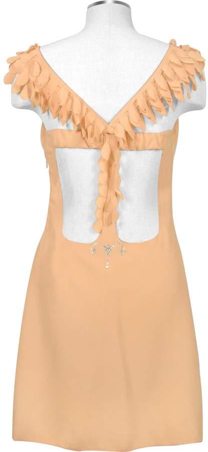 Hafize Ozbudak Peach Crystal Decorated Silk Crepe Dress