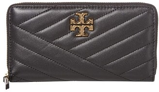 Tory Burch Kira Chevron Zip Continental Wallet (Black) Handbags