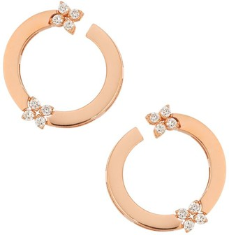 Roberto Coin Love In Verona 18K Rose Gold & Double Diamond Front-Facing Hoop Earrings