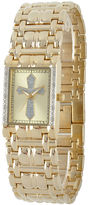 JCPenney FINE JEWELRY Personalized Mens Diamond-Accent Rectangular Gold-Tone Cross Watch