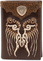 Ariat Brown Embroidered Shield Leather Tri-Fold Wallet