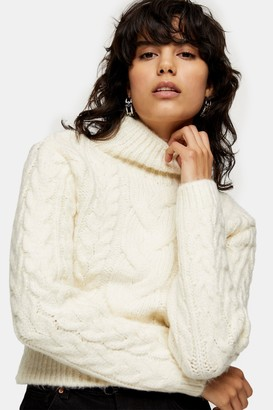 Topshop Womens Ivory Cable Crop Roll Knitted Jumper - Ivory