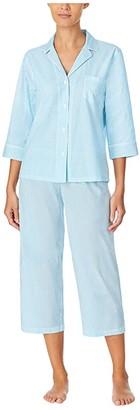 Lauren Ralph Lauren Petite Classic Wovens 3/4 Sleeve Notch Collar Capris Pajama Set (Aqua Stripe) Women's Pajama Sets