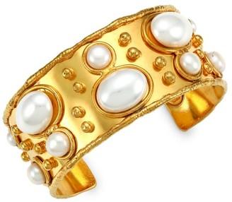 Sylvia Toledano Byzance 22K Goldplated & Pearl Cuff Bracelet