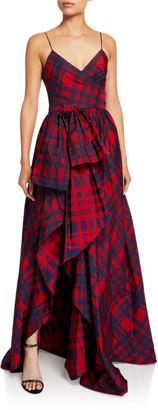 Flor Et. Al Duran Jacquard Check Printed High-Low Dress
