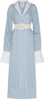 Rosie Assoulin Schloppy Joe Belted Striped Cotton And Silk-blend Maxi Dress - Light blue
