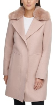 Kenneth Cole Petite Faux-Fur-Collar Walker Coat, Created for Macy's