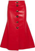 Awake Faux Leather Midi Skirt - Red