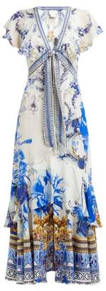 Camilla Saint Germaine-print Silk Wrap Midi Dress - Womens - Blue Print