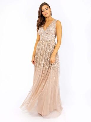 Maya Deluxe Women's Maya Embellished Plunge V Neckline Maxi Dress Bridesmaid