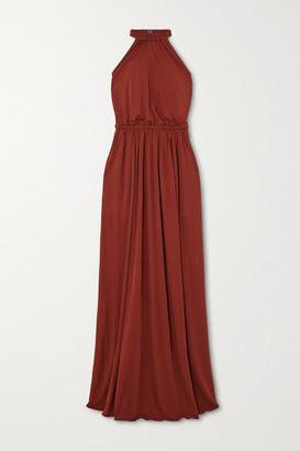 Matteau + Net Sustain Gathered Jersey Halterneck Maxi Dress - Claret