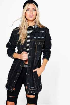 boohoo Longline Distressed Denim Jacket