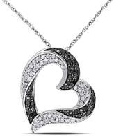 "Zales 1/3 CT. T.W. Enhanced Black and White Diamond Tilted Heart Pendant in 10K White Gold - 17"""