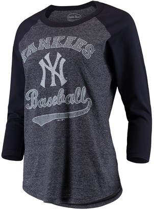 Majestic Women's Threads Navy New York Yankees Team Baseball Three-Quarter Raglan Sleeve Tri-Blend T-Shirt