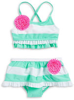 Flapdoodles Baby Girls Striped Floral Bikini Swimsuit Set