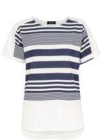 Quiz White And Navy Stripe Cap Sleeve Top