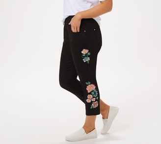 Belle By Kim Gravel TripleLuxe Twill Floral Cropped Jegging
