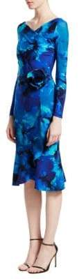 Chiara Boni Women's Long-Sleeve Printed Ruffle Bottom Dress - Blue Floral - Size 38 (2)