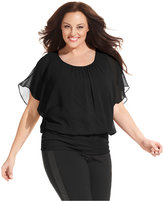 Style&Co. Style & Co. Plus Size Flutter-Sleeve Banded-Hem Top