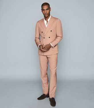 Reiss Exquisite - Wool-blend Double-breasted Blazer in Pink