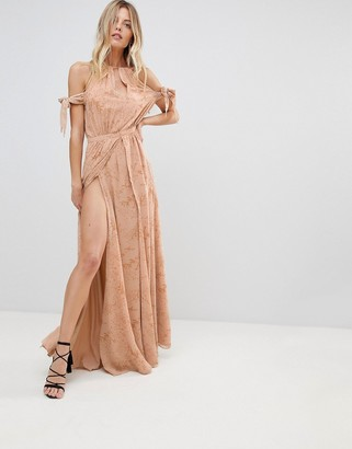 The Jetset Diaries Sierra Lace Thigh Split Cold Shoulder Maxi Dress