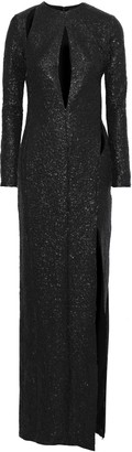 Tom Ford Cutout Sequined Silk Crepe De Chine Gown