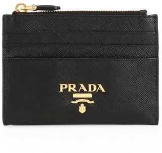Prada Saffiano Leather Zip Card Case