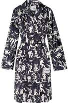 Prada Leather-Trimmed Printed Shell Coat