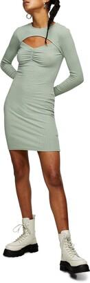 Topshop Rib Ruched Cutout Long Sleeve Minidress