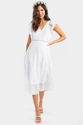 francesca's Izzy Eyelet Midi Dress - White