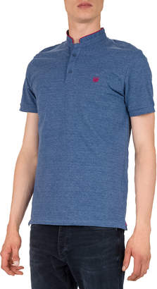 The Kooples Men's Officer Collar Short-Sleeve Polo Shirt with Contrast Trim