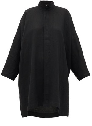 eskandar Longline Band-collar Linen Shirt - Black