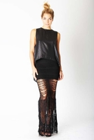 Nightcap Clothing Shredded Lace Skirt in Black
