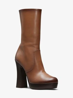 Michael Kors Emmy Burnished Calf Leather Platform Boot
