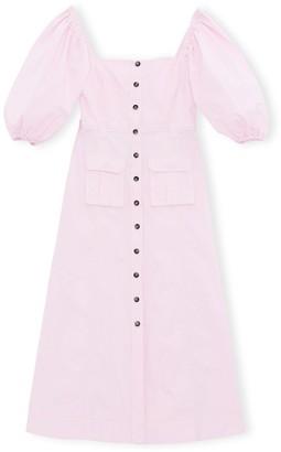 Ganni Ripstop Cotton Chino Dress in Cherry Blossom