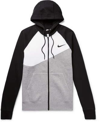 Nike Logo-Print Fleece-Back Cotton-Blend Jersey Zip-Up Hoodie - Men - Gray