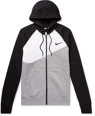 Nike Logo-Print Fleece-Back Cotton-Blend Jersey Zip-Up Hoodie