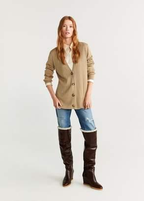 MANGO Metallic thread cardigan gold - XS - Women