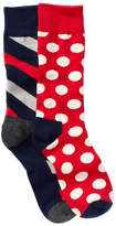 Happy Socks Assorted Printed Crew Socks - Pack of 2 Pairs
