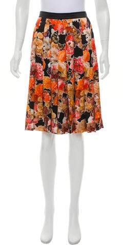 Givenchy Silk Pleated Skirt