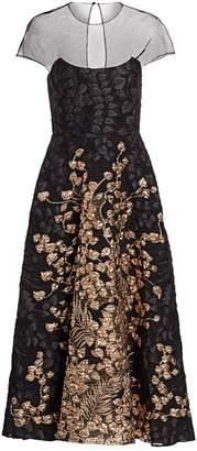 Lela Rose Illusion Top Metallic Fil Coupe A-Line Dress