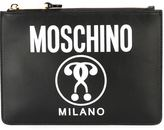 Moschino double question mark print clutch