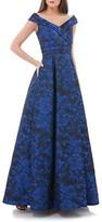 Carmen Marc Valvo Women's Rose Print Off The Shoulder Ballgown
