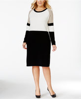 Calvin Klein Plus Size Colorblocked Sweater Dress