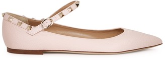 Valentino Rockstud pink grained leather flats