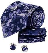 Blue Paisley Men Wearing Gift For Wedding Ties Silk Cufflinks Hanky Set 3PT By Y&G
