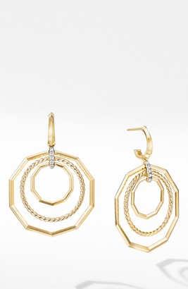 David Yurman Stax Extra Large 18K Yellow Gold Drop Earrings with Diamonds