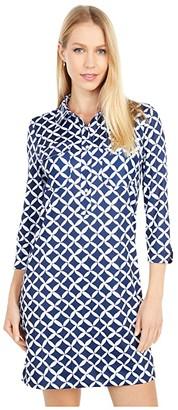 Vineyard Vines Margo Shirtdress UPF (Deep Bay/White) Women's Dress