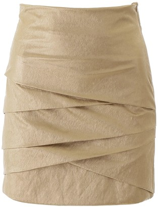 Philosophy di Lorenzo Serafini Gold Laminated Mini Skirt
