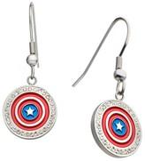 Marvel Women's Captain America Shield Logo Stainless Steel Dangle Earrings with Clear CZ
